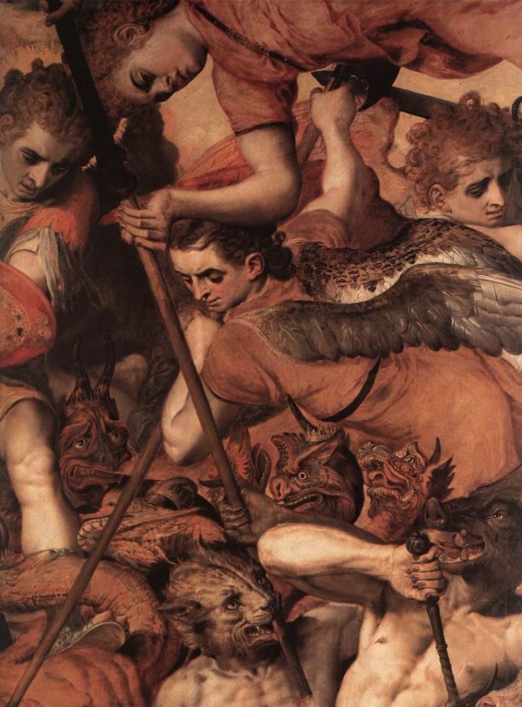Frans FLORIS, La chute des Anges rebelles, (détail) 1554, Huile sur panneau, Koninklijk Museum voor Schone Kunsten, Antwerp
