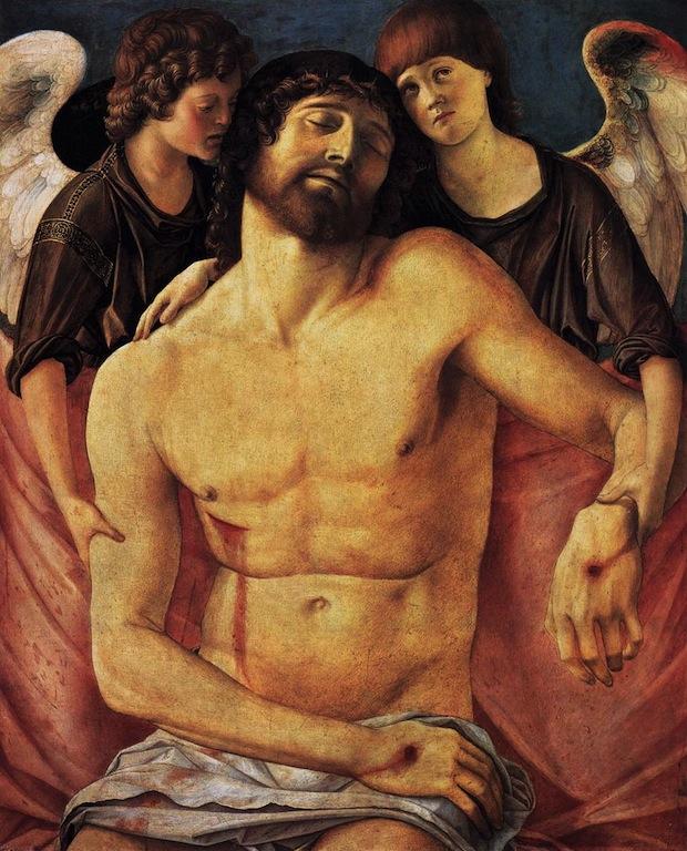 Giovanni Bellini,  Christ mort soutenu par deux anges 1480-85 gouache sur panneau, 83 x 68 cm Staatliche Museen, Berlin