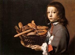 Evaristo BASCHENIS, Garçon avec une panière de pain, 1655-65. Collection privée (wga)