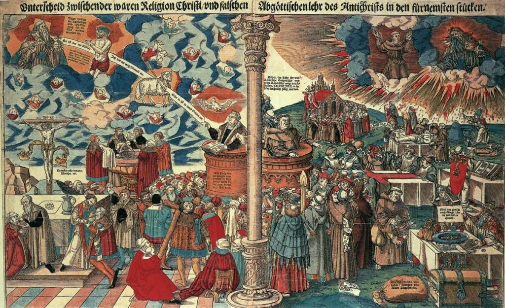 Lucas CRANACH, l'ancien, Le Christianisme et le Protestantisme, c. 1545.  Staatliche Museen, Berlin (wga)
