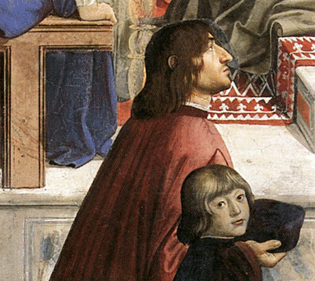 Ange Politien avec Pierre de Médicis, détail de la fresque « Confirmation de la règle franciscaine », vers 1475, Domenico Ghirlandaio, (Florence, Santa Trinità, chapelle Sassetti)