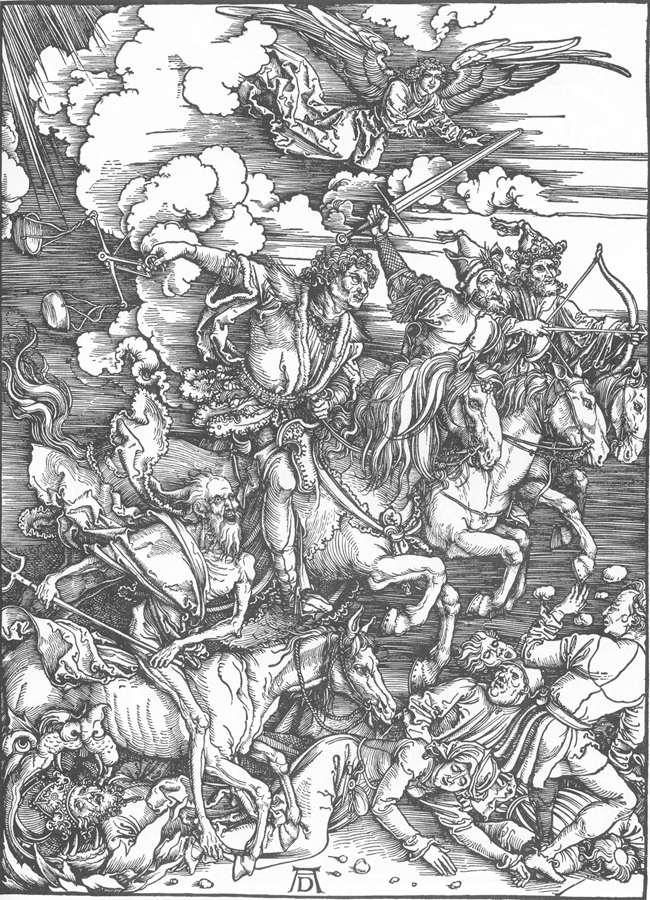 """Albrecht Dürer, """"Révélation de Saint Jean : les quatre cavaliers de l'Apocalypse"""" (1497-98)."""