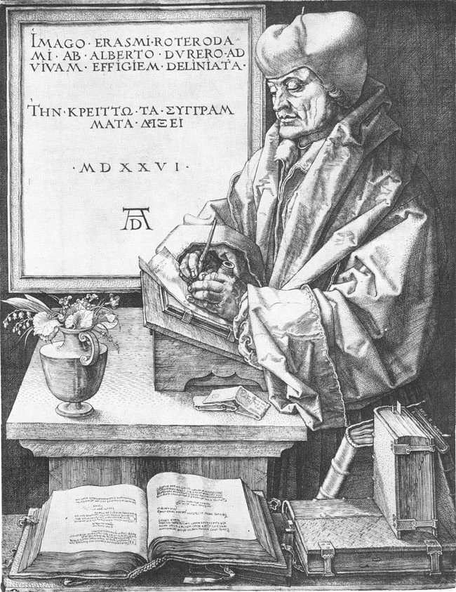 """Dürer Albrecht, """"Erasme de Rotterdam"""", (1526), (source : WGA)"""