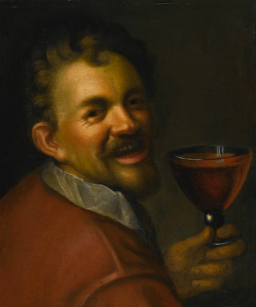 AACHEN, Hans von Self-Portrait with a Glass of Wine c. 1596 Oil on canvas, 53 x 44 cm Private collection (WGA)