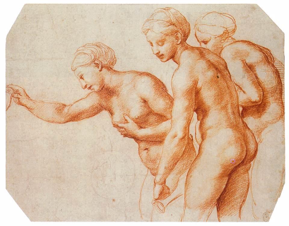 Raphaël, Etude pour les Trois Grâces, sanguine, 1518, 20.3 x 25.8 cm.  Royal Collection, Windsor.