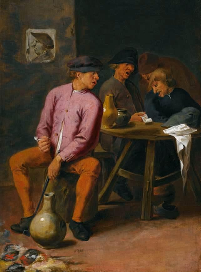 CRAESBEECK, Josse van Chanteurs buvant assis autour d'une table dans une taverne, v.1605-1654 Huile sur panneau, 28 x 20 cm, Collection privée (source WGA)