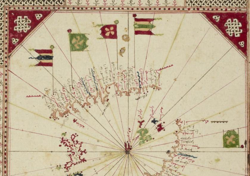 Portulan de la mer Méditerranée, par ʿAlî ibn Aḥmad ibn Moḥammad al-Scharqî de Sfax, 1551. Bibliothèque nationale de France, Arabe 2278, fol. 4r (Gallica)
