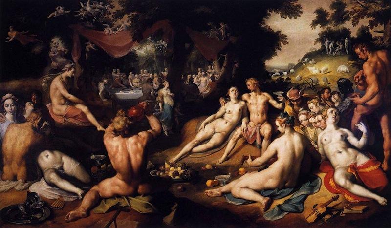 CORNELIS VAN HAARLEM Le mariage de Thétis et Pélée, 1593 huile sur toile, 246 x 419 cm Frans Halsmuseum, Haarlem (source : WGA)