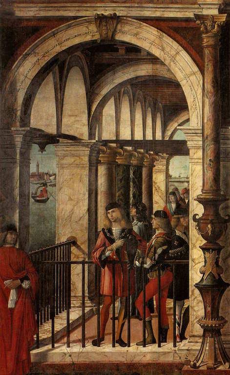CARPACCIO, Vittore Arrivée des ambassadeurs anglais (détail), 1495-1500 Tempera sur toile Gallerie dell'Accademia, Venice