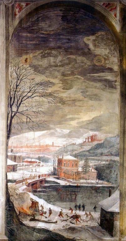 TOEPUT, Lodewijk Paysage d'hiver, 1580-85 Fresque, chambre des paysages, Villa Chiericati, Longa di Schiavon