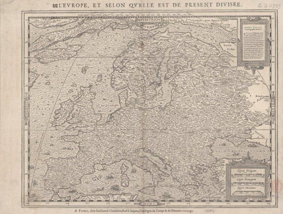 A. Thevet, L'Europe et selon qu'elle est de présent divisée,1581, Source : Bibliothèque nationale de France, département Cartes et plans, GE D-11989 / Gallica