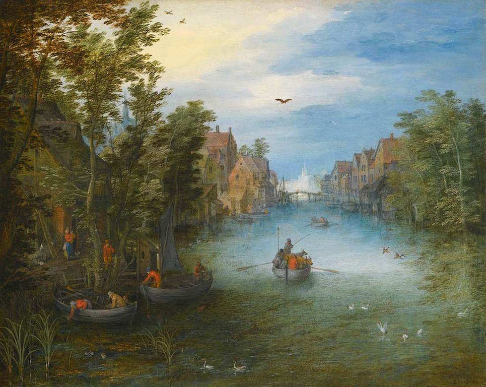 BRUEGHEL, Jan the Elder Paysage de fleuve 1602-03 Huile Private collection