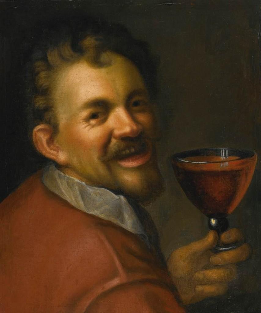AACHEN, Hans von Autoportrait au verre de vin c. 1596 huile, Collection privée (source : WGA)
