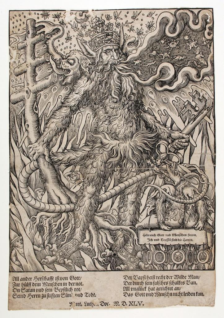 Melchior Lorck, Le pape en homme sauvage (Détail), Holzschnitt, 1545, Universitätsbibliothek Erlangen-Nürnberg, Graphische Sammlung Bildrechte: Universitätsbibliothek Erlangen-Nürnberg, Graphische Sammlung (adresse : http://www.mdr.de/mdr-sachsen-anhalt/cranach-in-anhalt102_showImage-cranach208_zc-fb680487_zs-27c9a89f.html)