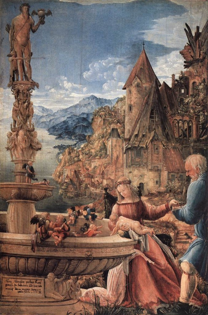 ALTDORFER, Albrecht Rest on the Flight into Egypt 1510 Oil on panel, 57 x 38 cm Staatliche Museen, Berlin (source WGA)