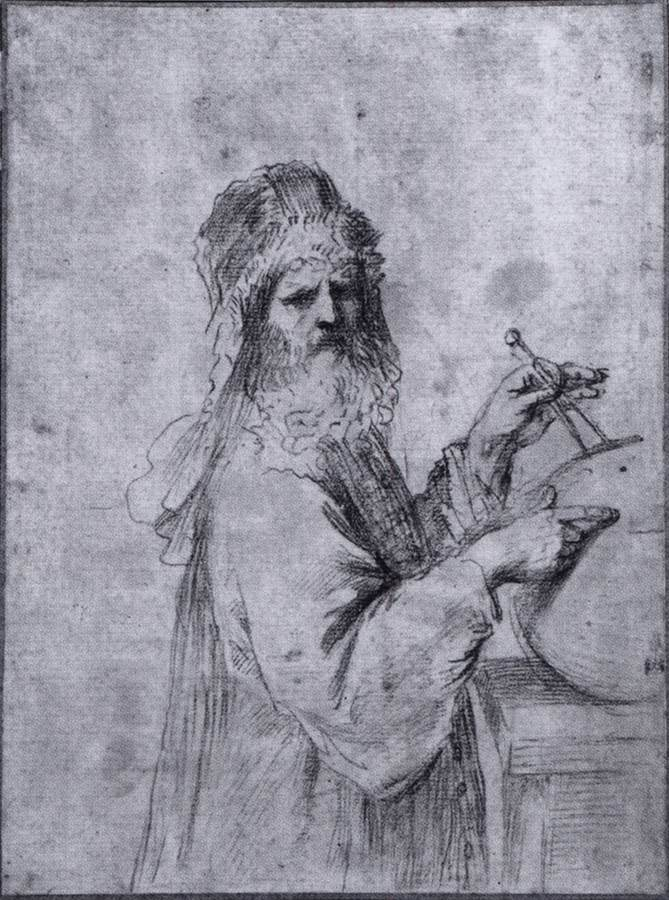 GUERCINO, Cosmographe, 1660 Fusain, 260 x 193 mm University Art Museum, Princeton