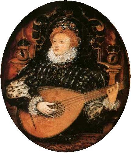 Nicholas Hilliard, Elisabeth I jouant du luth, v. 1580,  coll. part.