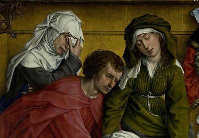 Rogier van der Weyden, La descente de croix (détail), vers 1435, Musée du Prado, Madrid.