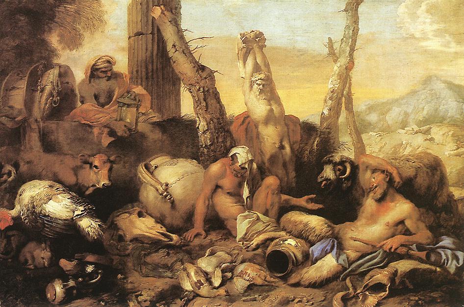 CASTIGLIONE, Giovanni Benedetto, La fable de Diogène Huile sur toile, 97 x 145 cm Museo del Prado, Madrid (source : WGA)