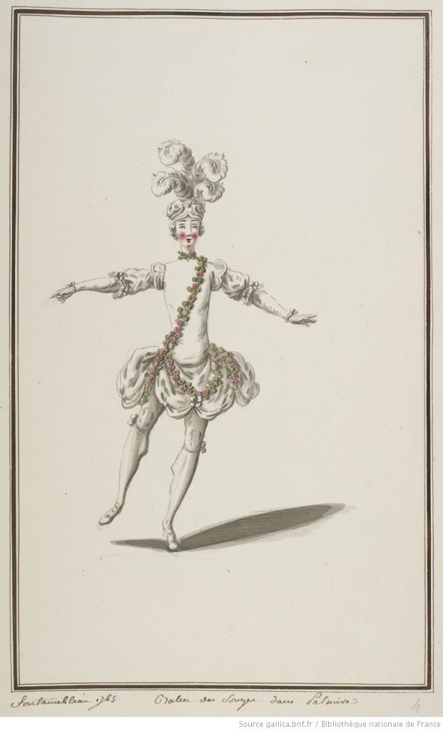 Boquet, Louis-René, Ballet des songes dans Palmire : [maquette de costume], 1765 , encre métallogallique (source : Gallica)