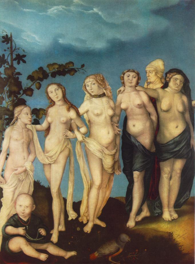 "Hans Baldung Grien, ""les sept âges de la femme"", Museum der Bildenden Künste, Leipzig (WGA)"