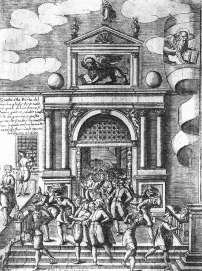 "Giacomo Franco, ""Entrée de l'Arsenal"", s. d., Biblioteca Nazionale Marciana de Venise."