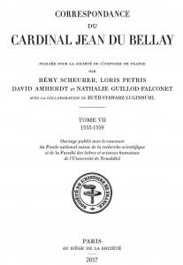Couverture de Correspondance du cardinal Jean Du Bellay, t. VII (1555-1559)