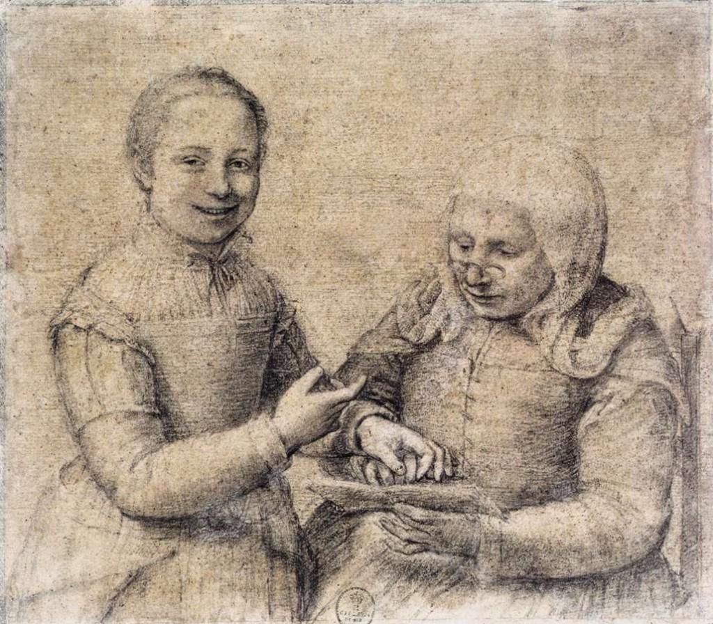 Vieille femme étudiant l'alphabet avec une jeune fille hilare, ofonisba Anguissola, vers 1550 (WGA)