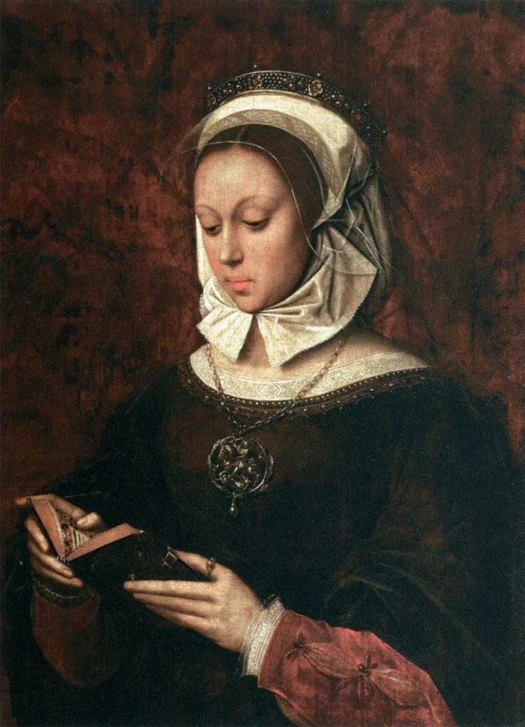 BENSON, Ambrosius Jeune femme en oraison lisant son livre d'Heures 1520s Huile, 75 x 55 cm Musée du Louvre, Paris (source : WGA)