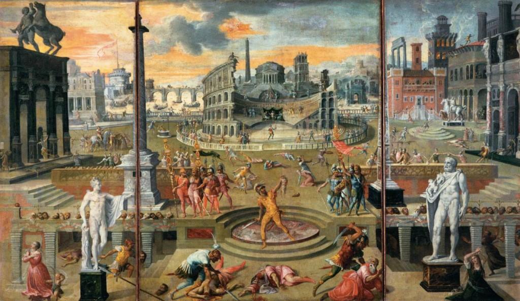 CARON, Antoine Les Massacres du Triumvirat, 1566 Huile sur toile, 116 x 195 cm Musée du Louvre, Paris (source : WGA)
