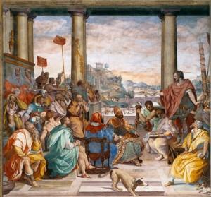 ALLORI, Alessandro Discours de Titus Quinctius Flamininus' devant les Achéens, 1578-82 Fresco Villa Medici, Poggio a Caiano