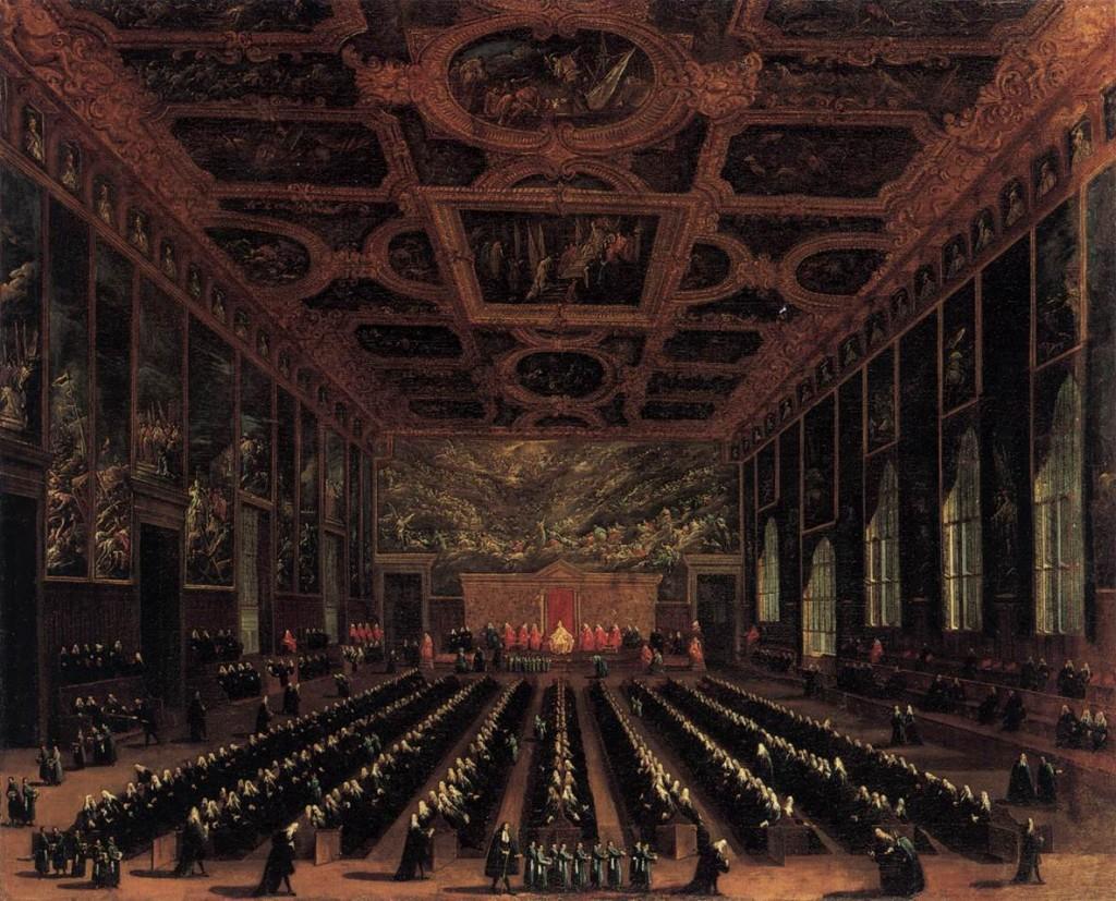 DIZIANI, Antonio Salle du conseil majeur, palais des Doges 1758-63 Huile sur toile, 155 x 187 cm Staatliche Museen, Berlin (Source : WGA)