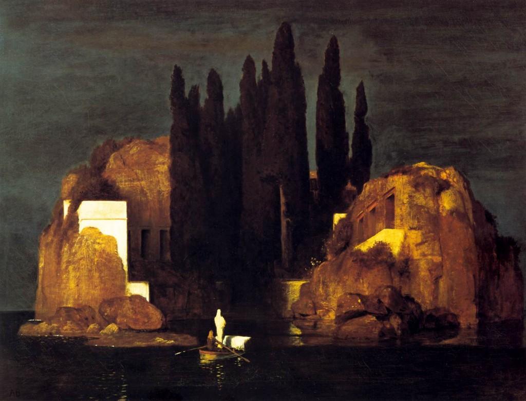 BÖCKLIN, Arnold L'île de la mort, 1880 Huile sur toile, 111 x 155 cm (source : WGA) Öffentliche Kunstsammlung, Basel
