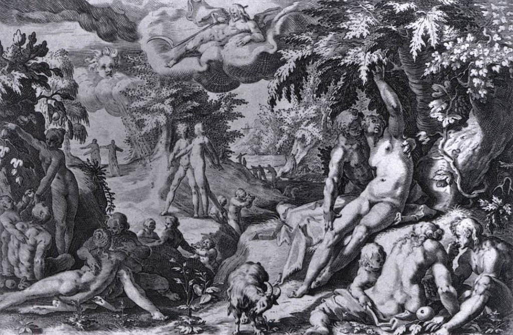 Maître hollandais anonyme L'âge d'or, c. 1589 Gravure, 174 x 250 mm Metropolitan Museum of Art, New York (source : WGA)