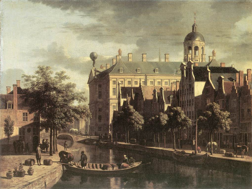 BERCKHEYDE, Gerrit Adriaensz. Amsterdam, the Nieuwezijds near the Bloemmarkt 1670-75 Oil on canvas, 45 x 61 cm Historisch Museum, Amsterdam (source : WGA)