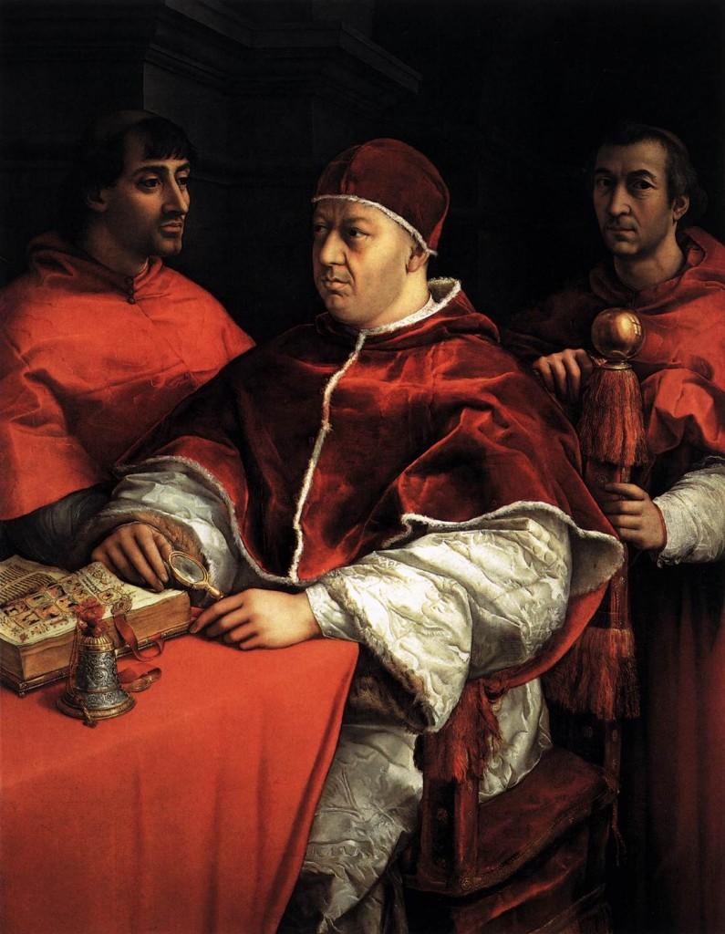 Le Pape Léon X avec les cardinaux Jules de Médicis et Louis de Roussy, Galerie des Offices, Florence, 1518 - 1519 (WGA)
