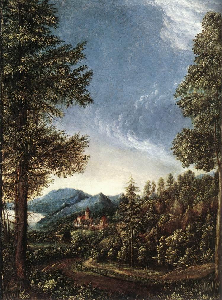 "Albrecht ALTDORFER, ""Paysage près du Danube"" (1520-1525), Muniche, Alte Pinakothek (source : WGA)."
