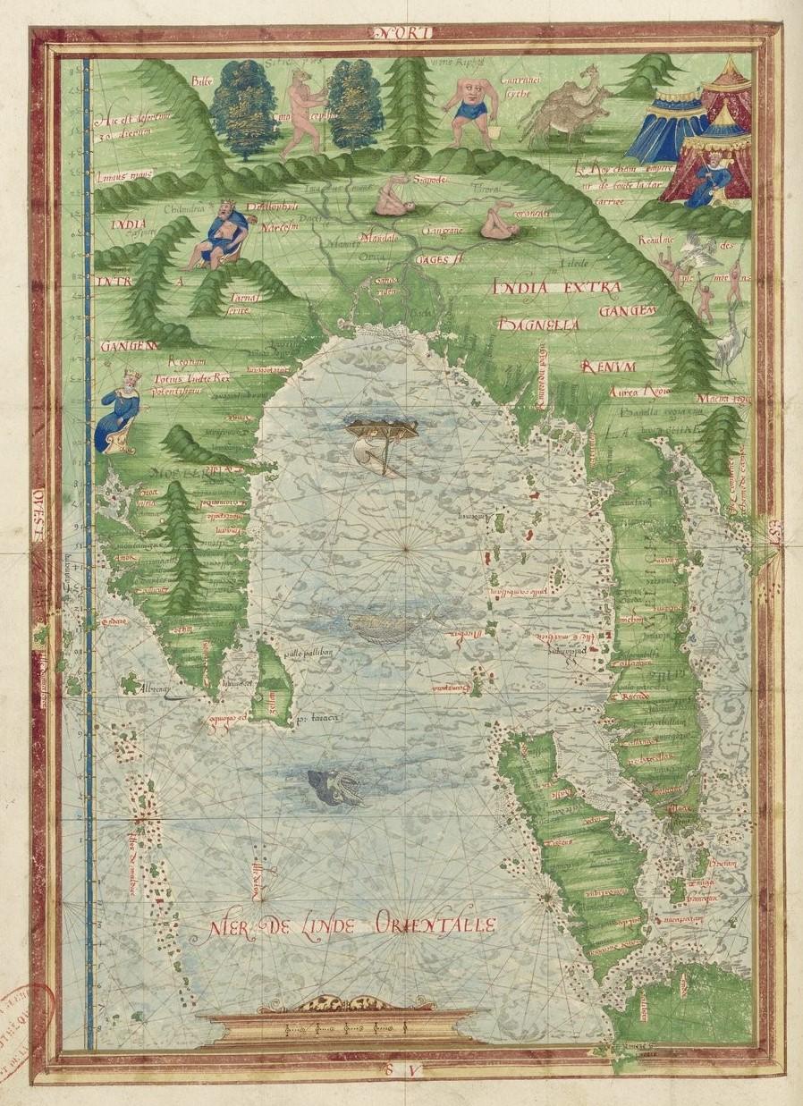 Cosmographie universelle, selon les navigateurs tant anciens que modernes par Guillaume Le Testu, Paris, 1555, f. 28 v° (BNF ;Service historique de la Défense, D.1.Z14)