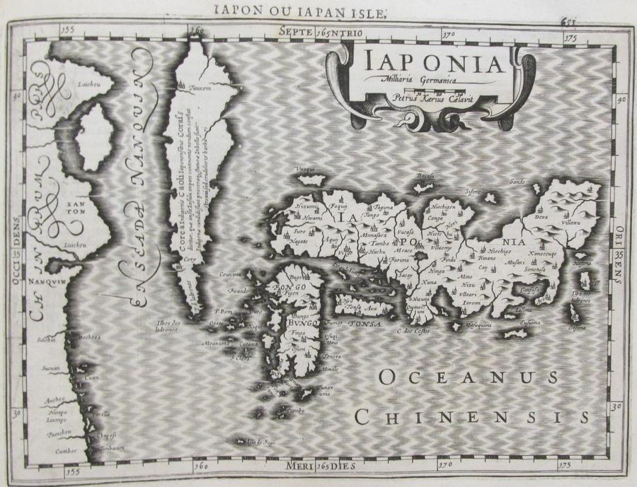 """Le Japon"" dans l'atlas de Mercator, ""Atlas sive Cosmographicae Meditationes de Fabrica Mundi et Fabricati Figura"", Amsterdam, Cloppenburg 1630."