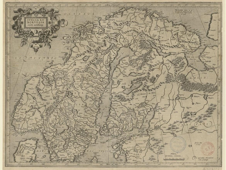 """Gérard MERCATOR, """"Svecia et Norvegia cum confiniis"""", (1607-1608), source : gallica."""