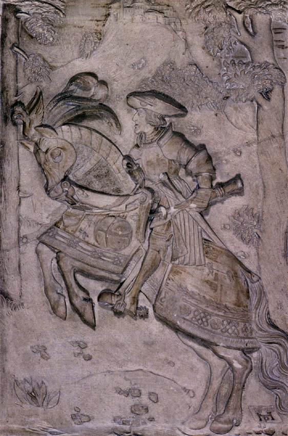 "Hans DAUCHER, ""Charles Quint à cheval"", (1522), Tiroler Landesmuseum Ferdinandeum, Innsbruck (source : WGA)."