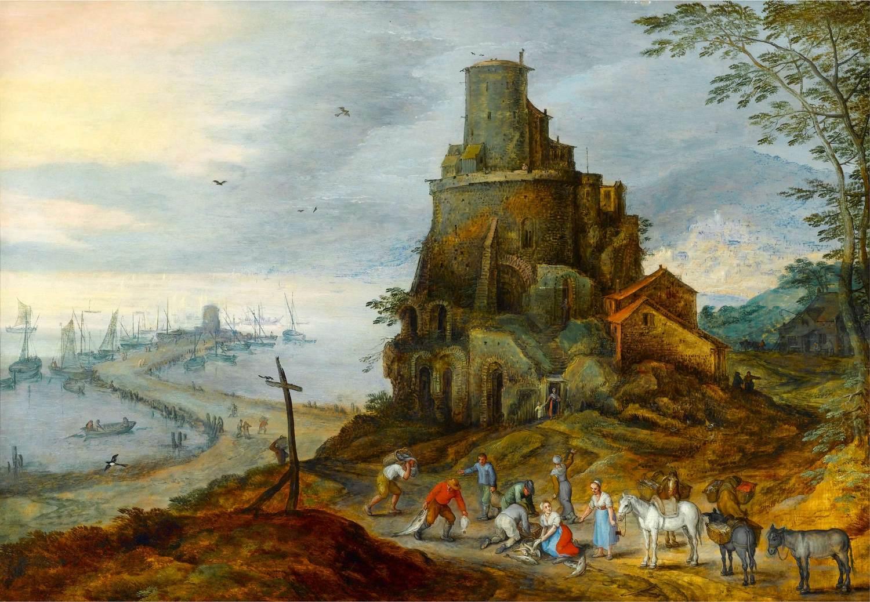 "BRUEGHEL l'Ancien, ""Paysage côtier"", (vers 1610), collection privée (source : WGA)."