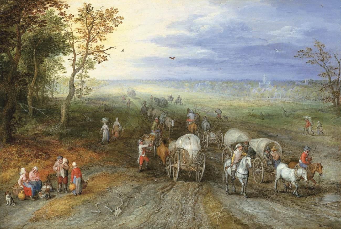 """BRUEGHEL l'Ancien, """"Paysage panoramique et voyageurs"""", (vers 1610), collection privée (source : WGA)."""