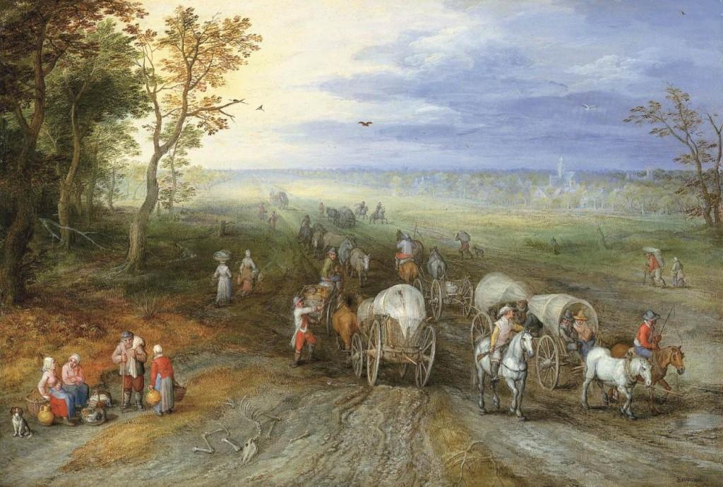 Paysage panoramique avec des voyageurs, Brueghel l'Ancien (détail) (WGA)
