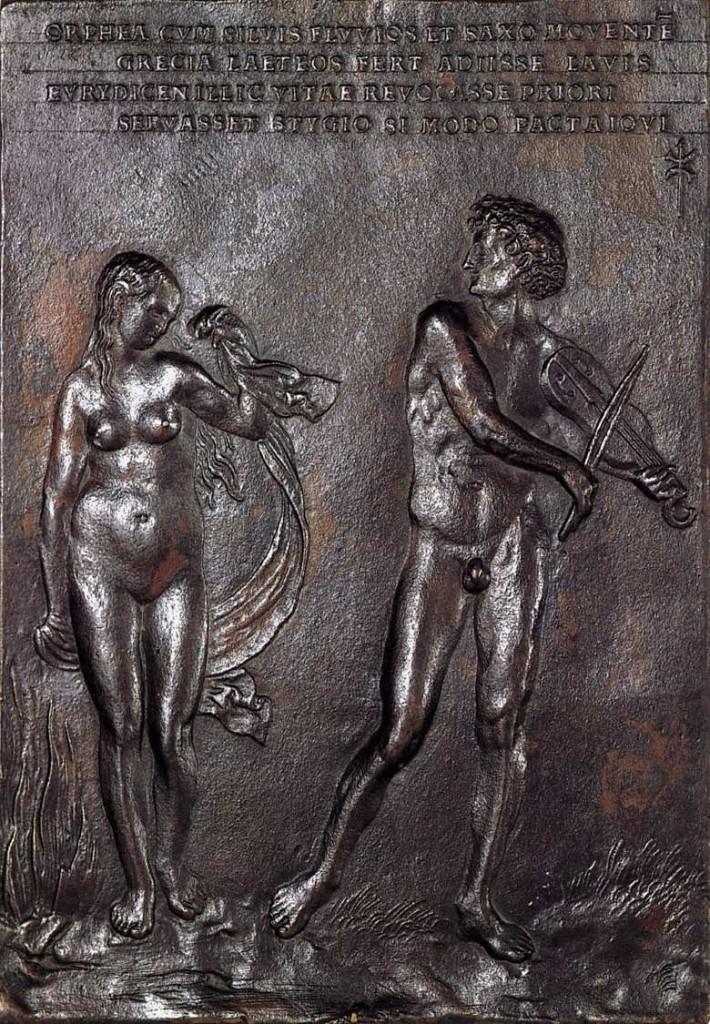 Orphée et Eurydice, Pierre Vischer, vers 1516, bronze, Museum für Kunst und Gewerbe, Hambourg (WGA)