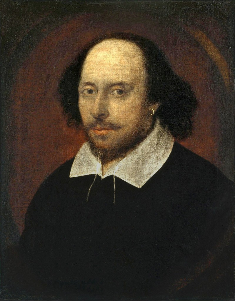 The Chandos portrait (artist and authenticity unconfirmed), courtesy of the National Portrait Gallery, London (source : wikipedia)