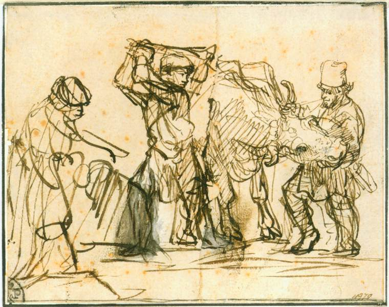 REMBRANDT Harmenszoon van Rijn Man slaughtering an ox 1635-40 Pen and brown ink, white body colour, 117 x 150 mm Staatliche Graphische Sammlung, Munich (source : WGA)