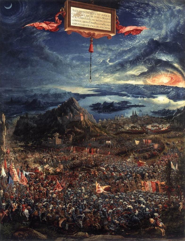 Albrecht Altdorfer, La Bataille d'Alexandre, 1529, Huile sur bois, Alte Pinakotek, Munich (WGA)