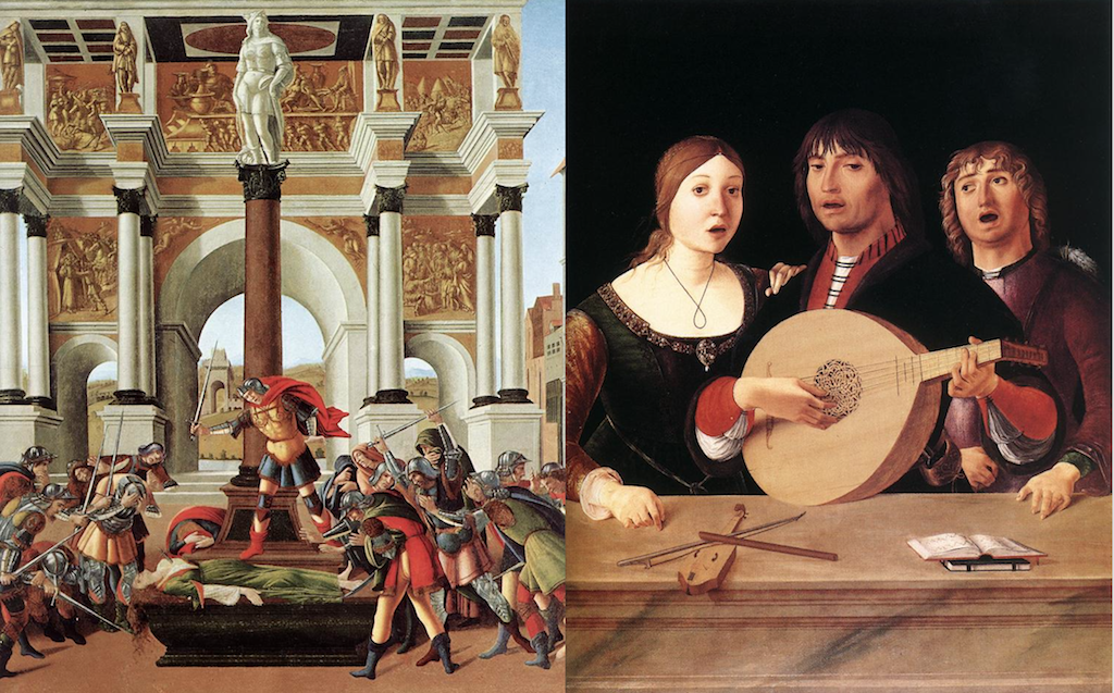 BOTTICELLI, Sandro L'histoire de Lucrèce (détail) 1496-1504, Isabella Stewart Gardner Museum, Boston; COSTA, Lorenzo the Elder Concert 1485-95, National Gallery, London