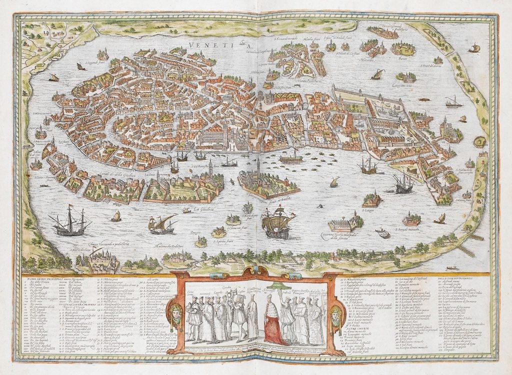 Hand-coloured view of 16th-century Venice – from the Civitates orbis terrarum  (source : mapmania)